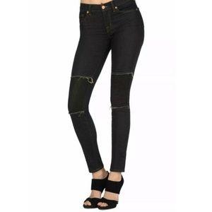 J brand duke dark wash jeans with knee patch